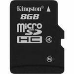 Карта памяти microSDHC, 8Gb, Class4, Kingston, без адаптера (SDC4 8GBSP)