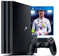 Игровая приставка Sony PlayStation 4 Pro, 1000 Gb, Black + FIFA 18 + Fortnite