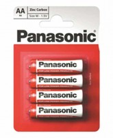 Батарейки AA, Panasonic Red Zinc, солевая, 4 шт, 1.5V, Blister (R6RZ 4BP)