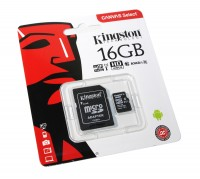 Карта памяти microSDHC, 16Gb, Class10 UHS-I, Kingston Canvas Select, (R-80MB s),