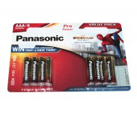 Батарейки AAA, Panasonic Spider-Man, щелочная, 8 шт, 1.5V, Shrink (LR03PPG 8BW)