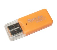 Card Reader внешний Merlion CRD-1OR, M2 microSD, Orange