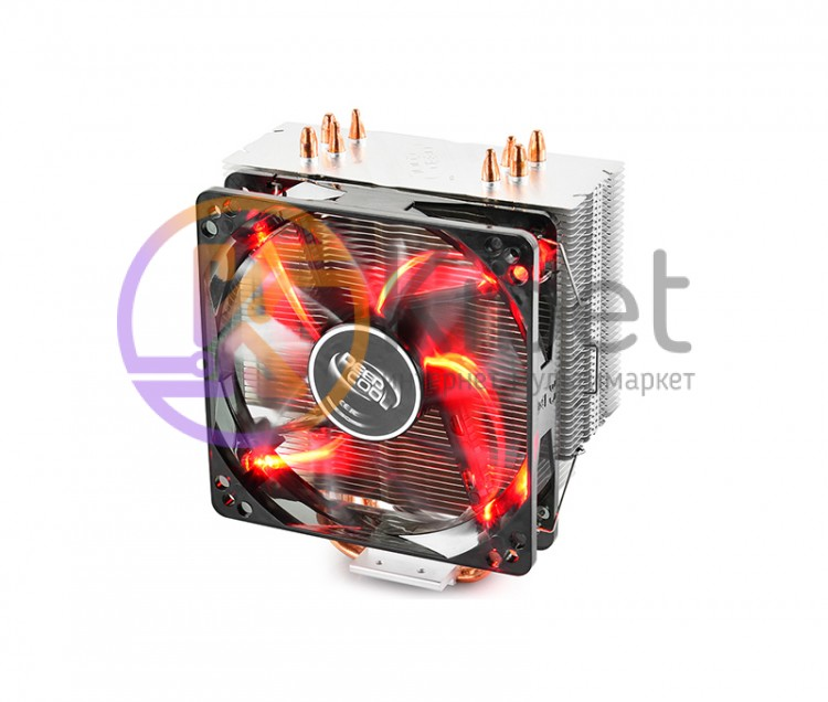 Вентилятор CPU Deepcool GAMMAXX 400 Red, 121x75.5x144мм 900-1600 об мин LGA2011-
