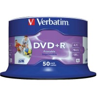 Диск DVD+R 50 Verbatim, 4.7Gb, 16x, Printable, Cake Box (43512)