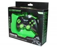 Геймпад Esperanza Fighter GX400, Black Green, USB, вибрация, для PC, 2 аналоговы