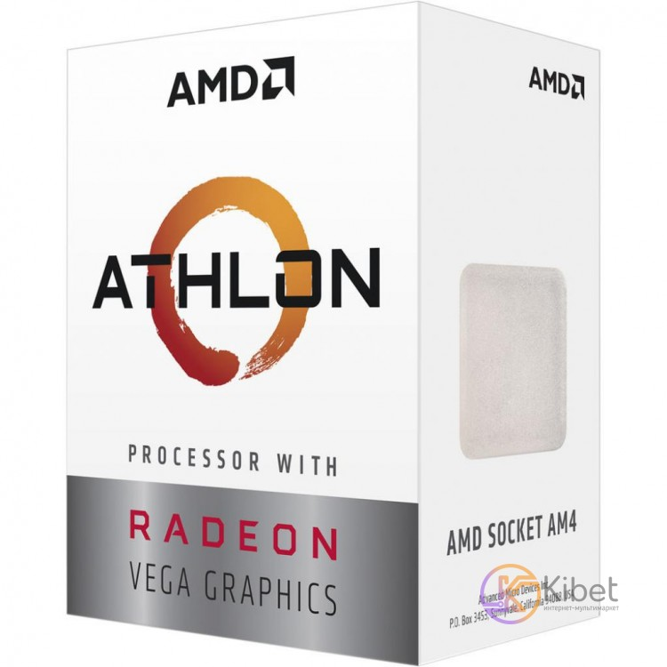 Процессор AMD (AM4) Athlon 3000G, Box, 2x3,5 GHz, Radeon Vega 3 (1000 MHz), L3 4