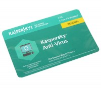 Антивирусная программа Kaspersky Anti-Virus 2018, 1 Desktop 1 year Renewal Card