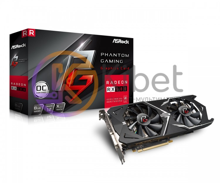 Видеокарта Radeon RX 580 OC, ASRock, Phantom Gaming X, 8Gb DDR5, 256-bit, DVI HD