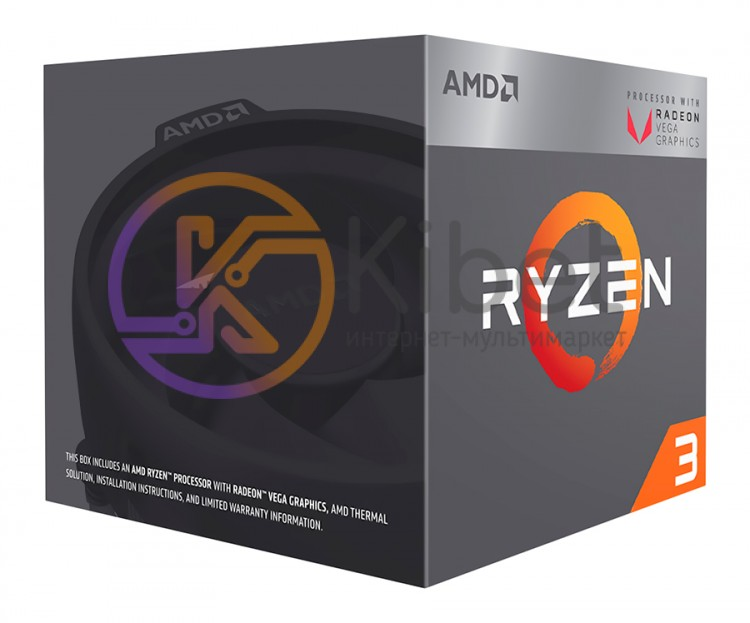 Процессор AMD (AM4) Ryzen 3 2200G, Box, 4x3,5 GHz (Turbo Boost 3,7 GHz), Radeon