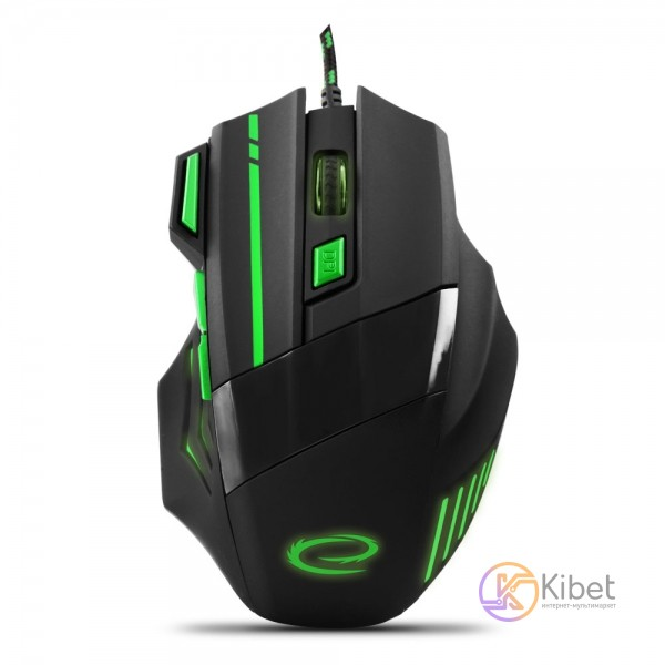 Мышь Esperanza MX201 (EGM201G) Black Green, Optical, USB, 2400 dpi, подсветка