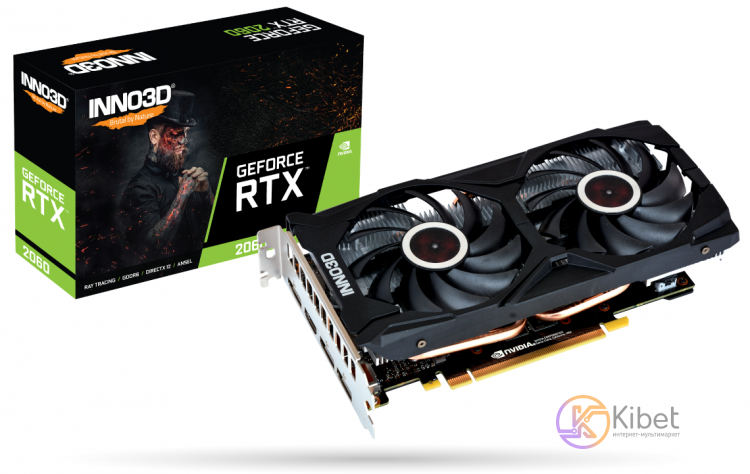 Видеокарта GeForce RTX 2060, Inno3D, TWIN X2, 6Gb DDR6, 192-bit, HDMI 3xDP, 1680