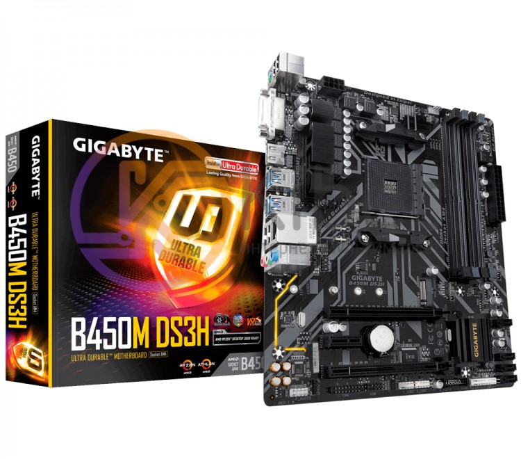 Материнская плата AM4 (B450) Gigabyte B450M DS3H, B450, 4xDDR4, CrossFire, Int.V