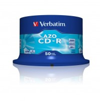 Диск CD-R 50 Verbatim, 700Mb, 52x, AZO Crystal, Cake Box (43343)
