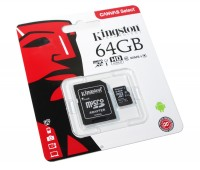 Карта памяти microSDHC, 64Gb, Class10 UHS-I, Kingston Canvas 80MB s, SD адаптер